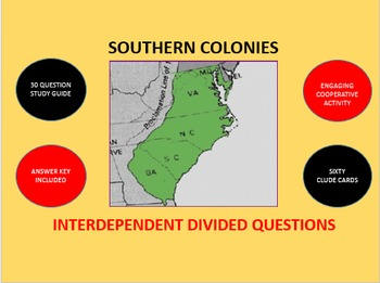 Southern Colonies: Interdependent Divided Questions Activity
