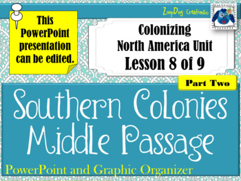 Southern Colonies Middle Passage PowerPoint and Graphic Organizer