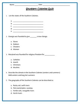 Southern Colonies Quiz- 4th Grade Social Studies