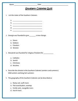 Southern Colonies Quiz