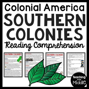 Southern Colonies Reading Comprehension Worksheet