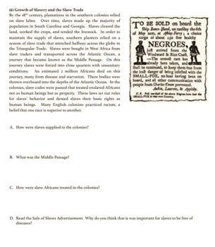 Southern Colonies Reading & Question Activities