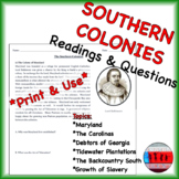 Southern Colonies Readings & Questions