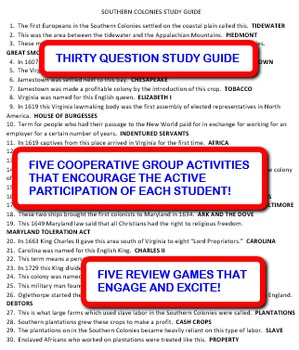 Southern Colonies: Study Guide and Activity Pack