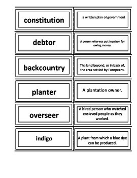 Southern Colonies Vocabulary Flash Cards 4th Grade