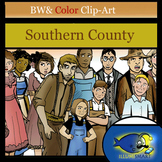 Southern County Clip-Art 22 pc. BW and Color!
