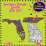 Southern Doodle States Clip Art