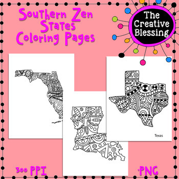 Southern Doodle States Coloring Activity