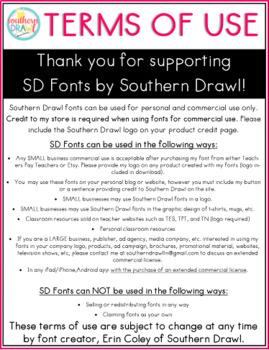 Southern Drawl FONTS Terms of Use and Logo