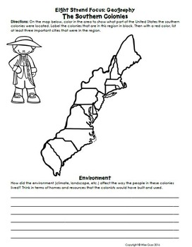 Southern South Colonies Activities, Worksheets, Common Core Standards