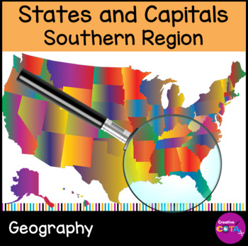 Southern States and Capitals: Differentiated worksheets and activities