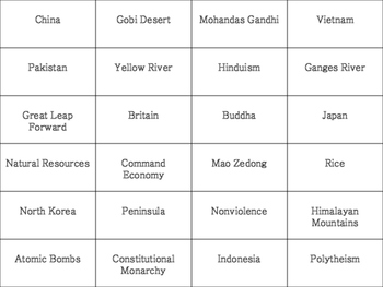 Southern and Eastern Asia BINGO