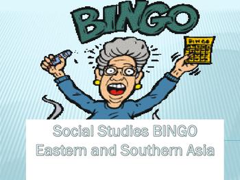 Southern and Eastern Asia BINGO