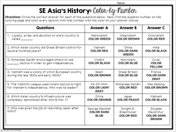 Southern and Eastern Asia's History Color-by-Number Activity