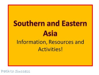 Southern and Eastern Asia Resources and Activities! Answer Key and Editable