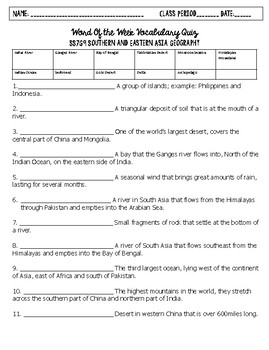 Southern and Eastern Asia Word of the Week Vocabulary Quizzes with key