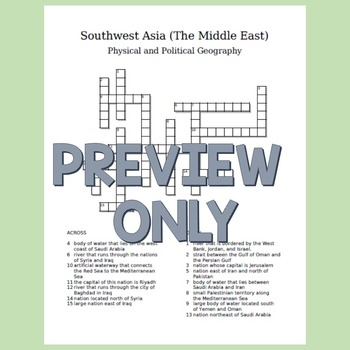 Southwest Asia (The Middle East) Crossword Puzzle
