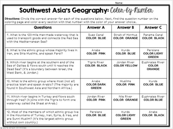 Southwest Asia's Geography: Color-by Number