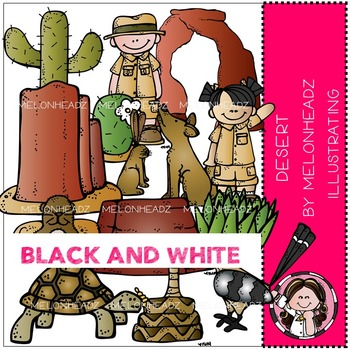 Desert Habitat clip art - BLACK AND WHITE- by Melonheadz