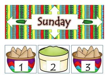 Southwest Fiesta Theme Calendar Decor Set