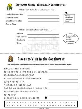 Southwest Region Activity Booklet Worksheets Social Studies Lessons