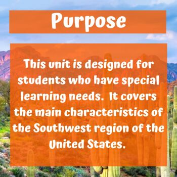 Southwest Region Geography Unit for Special Education