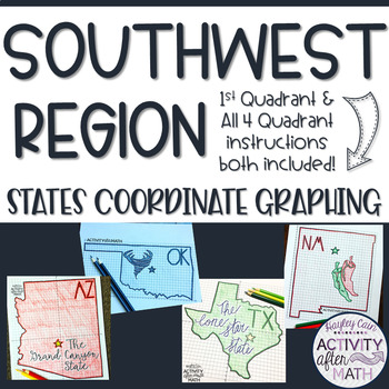 Southwest Region STATES Coordinate Graphing Pictures BUNDLE