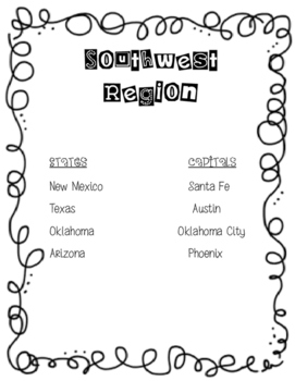 Southwest Region States and Capitals