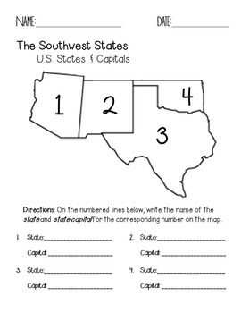 Southwest Region States and Capitals Quiz Pack