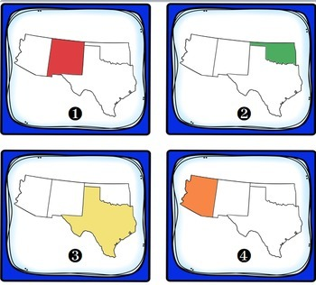 Southwest Region States and Capitals Task Cards