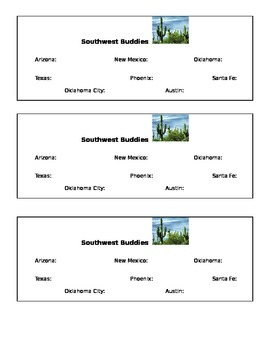 Southwest Region of the US Buddies Sheet