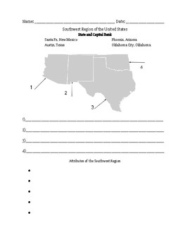 Southwest Region Of The Us Worksheets & Teaching Resources | TpT