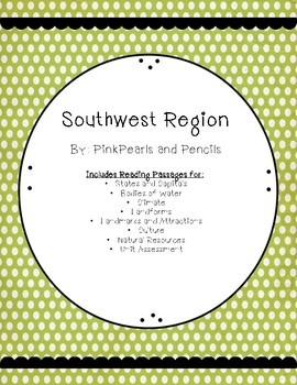 Southwest Region of the USA Interactive Notebook Reading Passages Printable