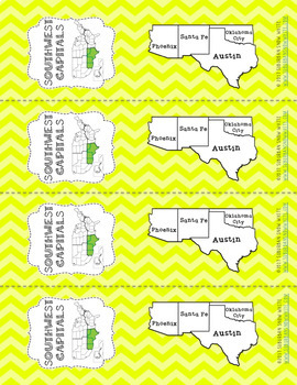 Southwest States Bookmarks with States, Capitals, and Abbreviations