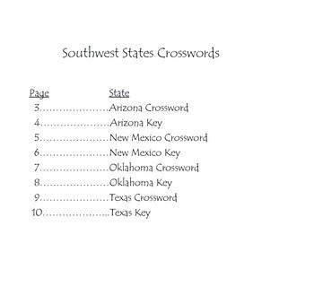 Southwest States Crossword Puzzles