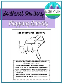 Southwest Territory Map Activity TN SS 4.45