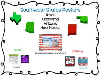Southwest US Region State Posters Freebie
