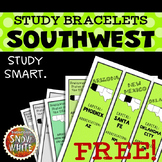 Southwest United States Bracelets with States, Capitals, Abbreviations