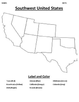 Southwest United States Mapping Worksheet with Word search
