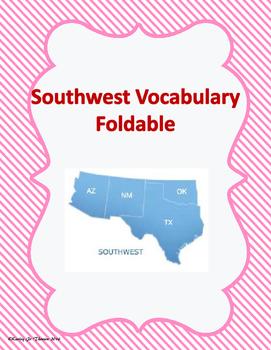 Southwest Vocabulary Foldable