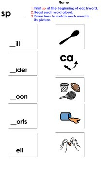 Sp Blend Matching Worksheet