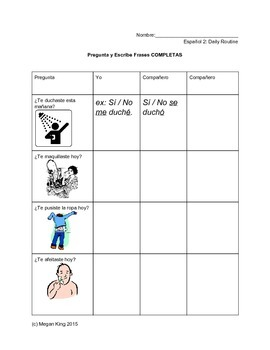 Sp2 Reflexive Verbs Pair Activity: Daily Routine