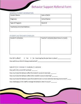 SpEd Behavior Support Referral Form