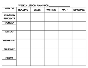 SpEd Staff Weekly Instructional Planner (B&W)