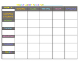 SpEd Staff Weekly Instructional Planner (COLOR)