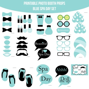 Spa Blue Printable Photo Booth Prop Set