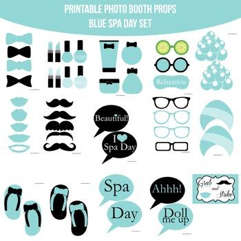 Spa Blue Printable Photo Booth Prop Set