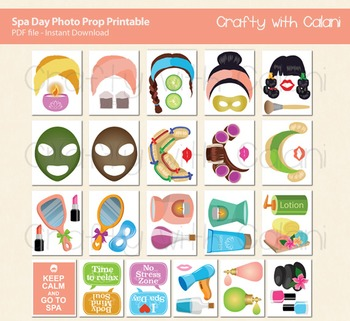 Spa Day Photo Booth Prop & Decorations - 43 unique printable props
