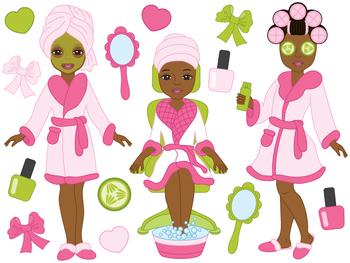 Spa Girls Clipart - Digital Vector, Spa Girls, Makeup, Spa Girls Clip Art