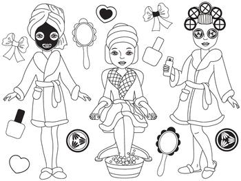 Spa Girls Clipart - Digital Vector, Spa Girls, Makeup, Spa